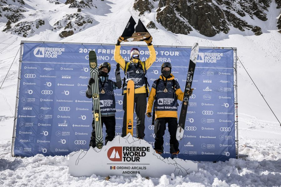 Podio esquí masculino del Freeride world Tour en Ordino