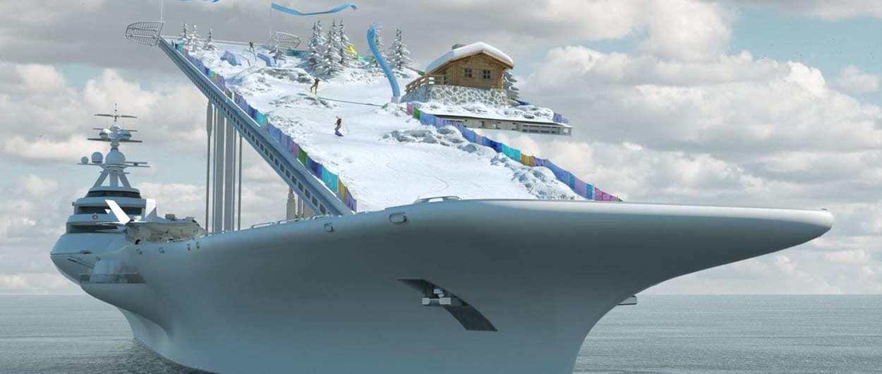 Esta espectacular pista de esquí se quiere montar en un antiguo portaaviones