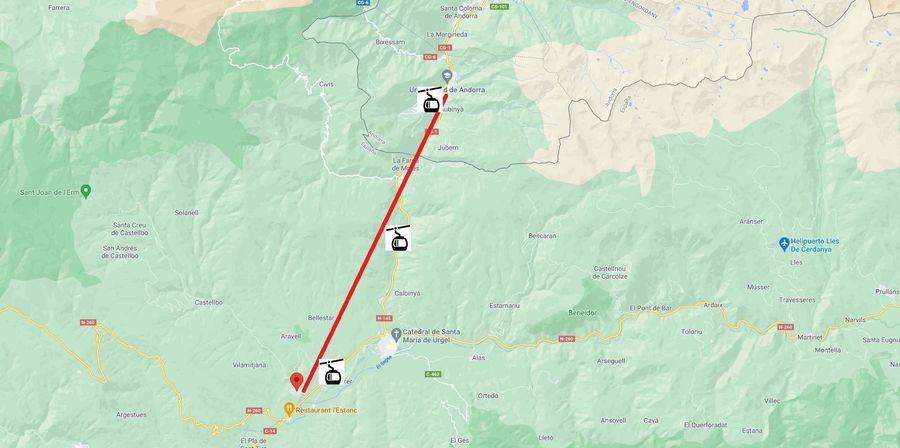 Plano del teleférico de la Seu Urgell a Andorra