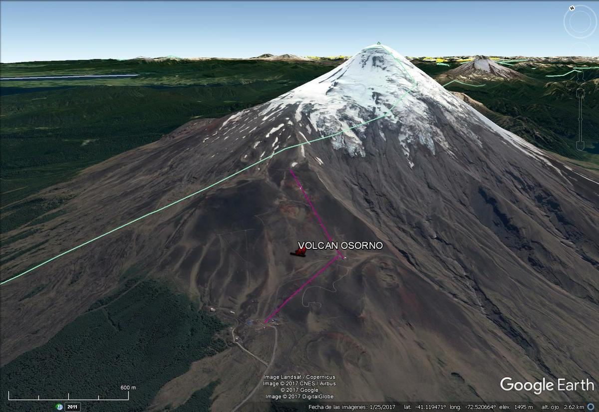 Vista Google Earth Volcán Osorno 2017