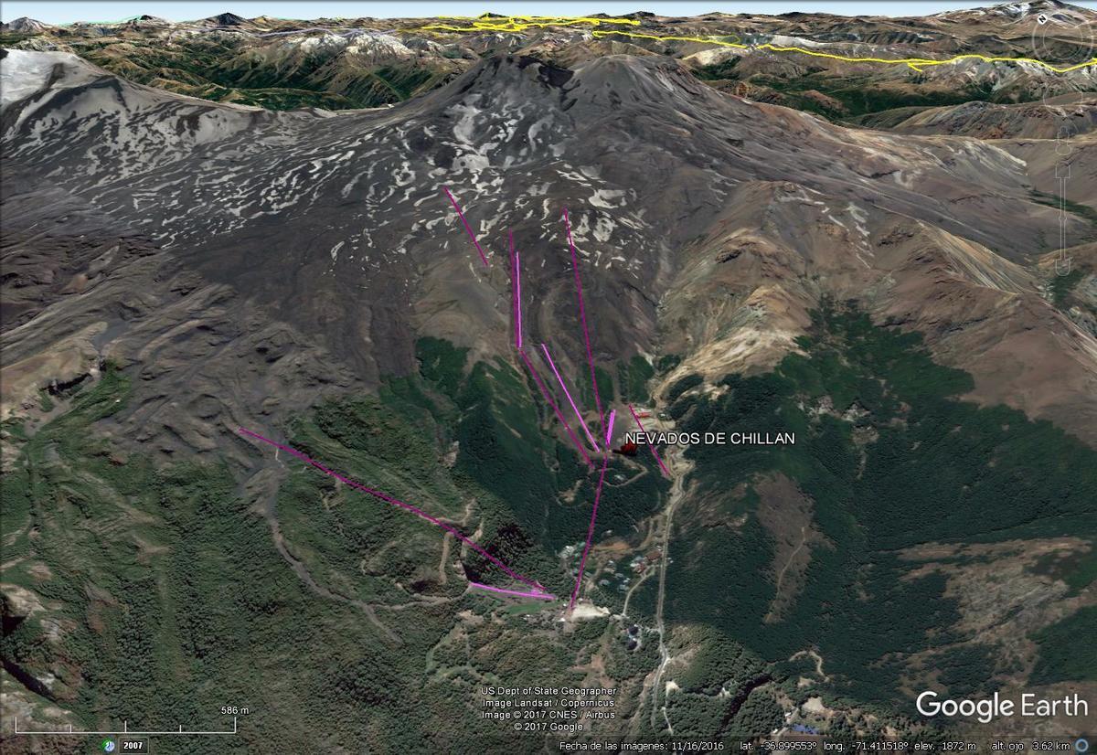 Vista Google Earth Nevados de Chilllán 2017