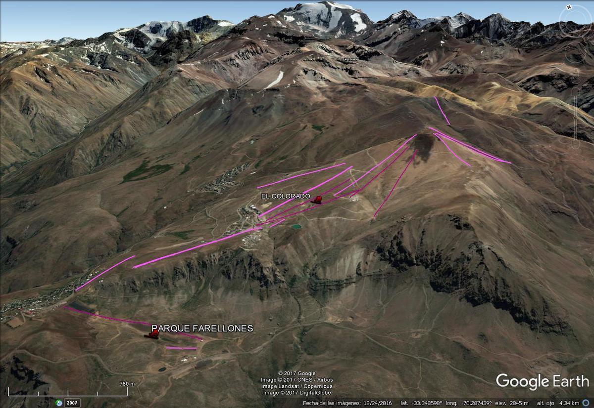 Vista Google Earth El Colorado - Farellones 2017