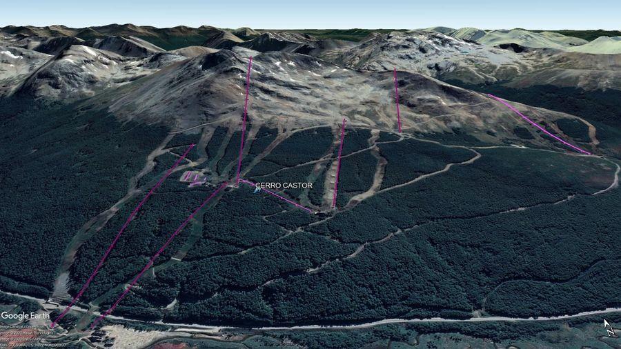 Vista Google Earth Cerro Castor 2020