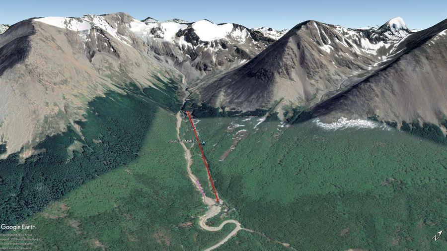 Vista Google Earth Glaciar Martial 2020
