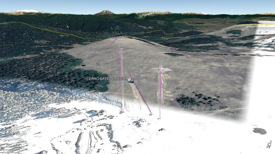 Vista Google Earth Cerro Batea Mahuida 2020