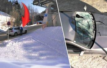 Cae a una carretera al abrir la barra de seguridad en mal momento