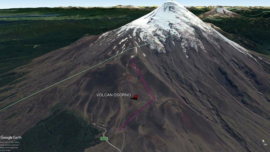 Vista Google Earth Volcán Osorno 2019