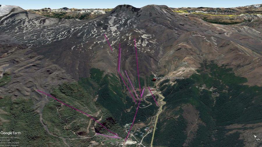 Vista Google Earth Nevados de Chilllán 2019
