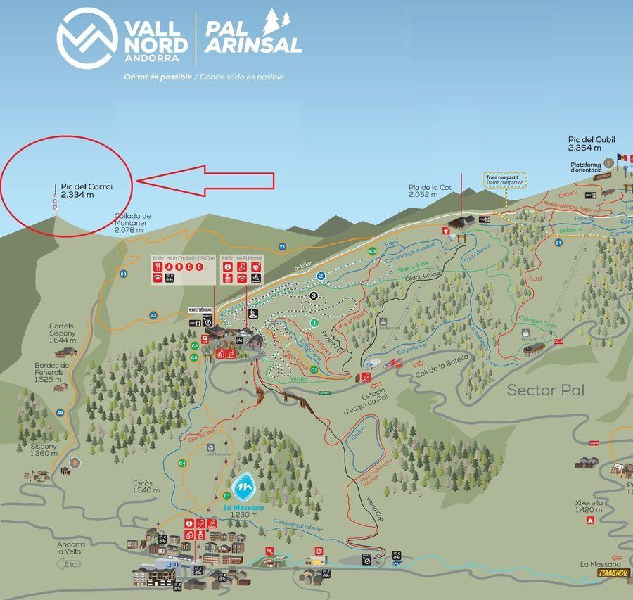 Llegada del teleferico del Pic del Carroi a las pistas de esquí de Vallnord Pal Arinsal