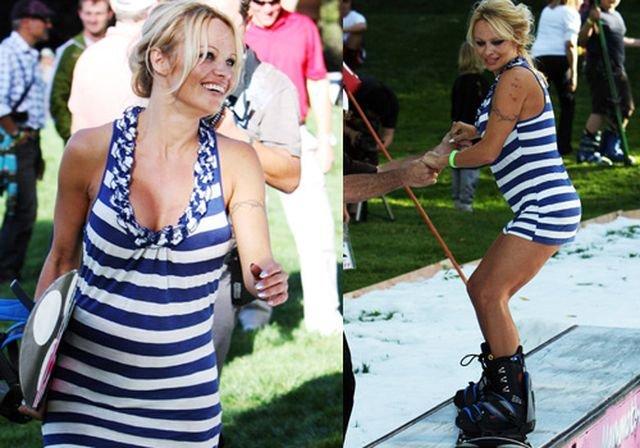 Pamela Anderson en Snowboard