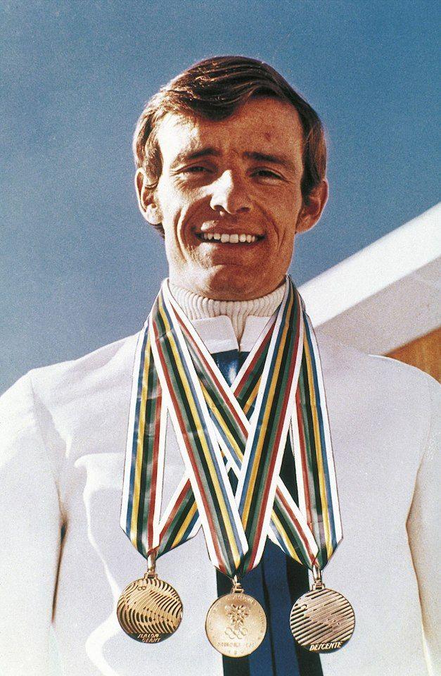 Jean Claude Killy con sus tres oros olímpicos en 1968
