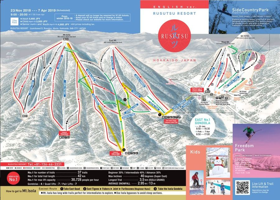 Mapa pistas Rusutsu
