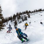 Skiers with jeans in ARAPAHOE bASIN
