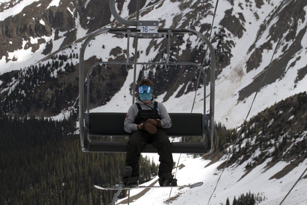 Esquiadores con mascarilla
