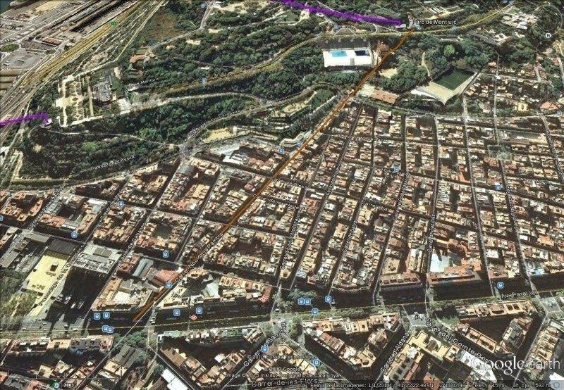 Vista Google Earth Funicular Motjuïc