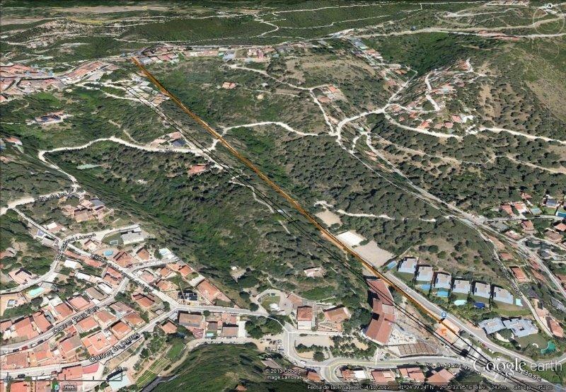 Vista Google Earth Funicular de Vallvidrera