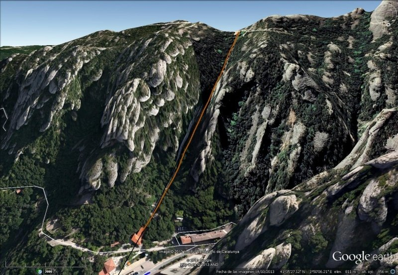 Vista Google Earth Funicular de Sant Joan
