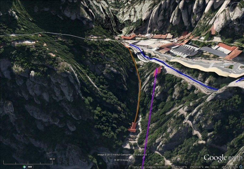 Vista Google Earth Funicular de Santa Cova