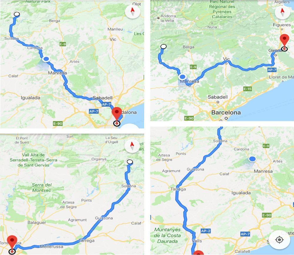 Situación de Port del Comte respecto a la s 4 capitales catalanas