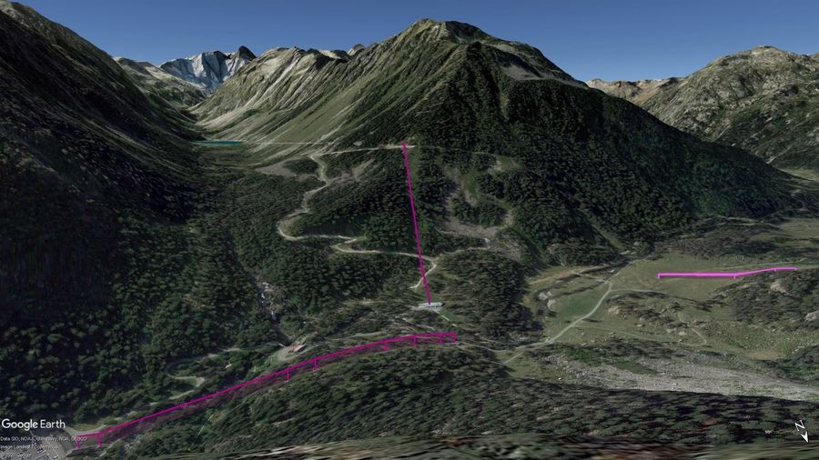 Vista Google Earth Cauterets - Pont d'Espagne Temporada 2020/21