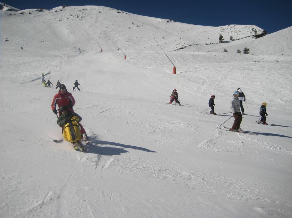 Fotografía de monitor esquiando con dual esquí en pista