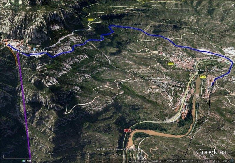 Vista Google Earth Cremallera de Montserrat