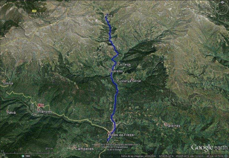 Vista Google Earth Cremallera del Vall de Núria