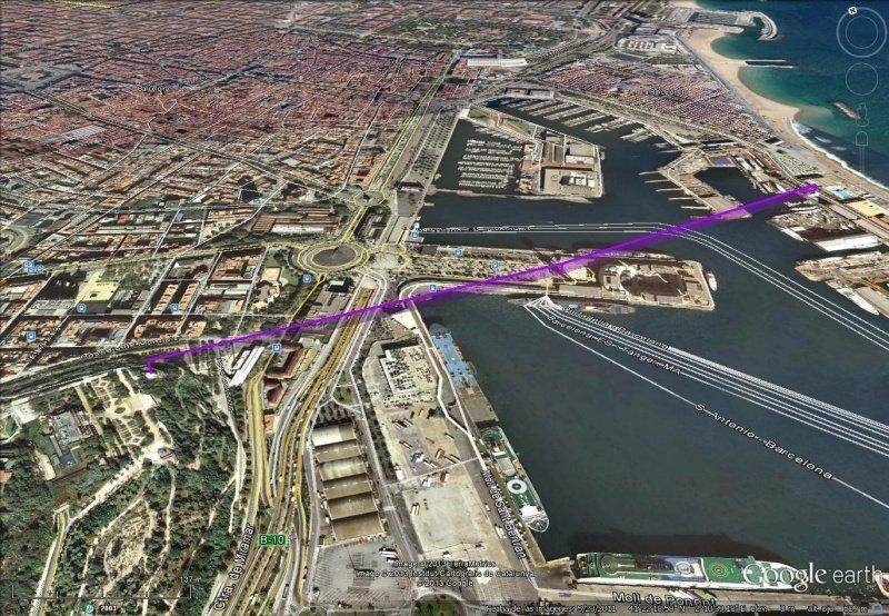 Vista Google Earth Teleférico Aeri del Port de Barcelona