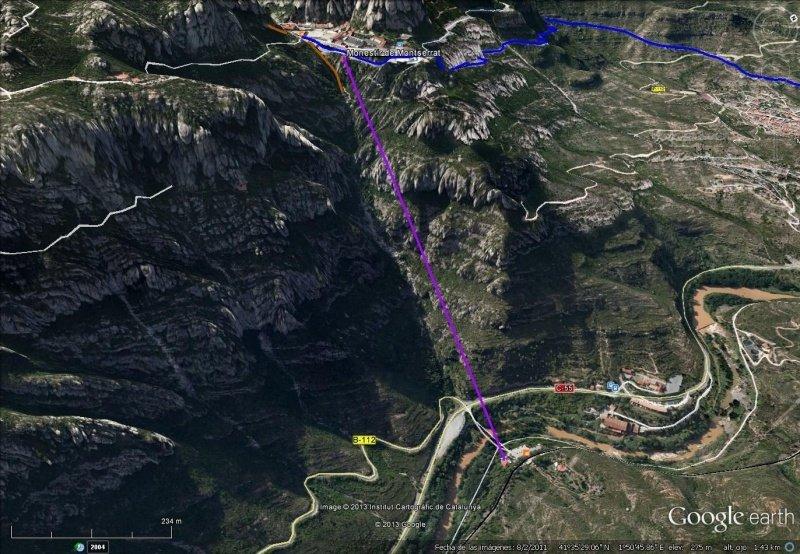 Vista Google Earth Teleférico Aeri de Montserrat