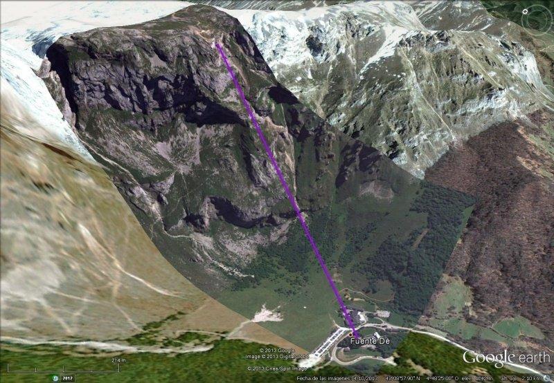 Vista Google Earth Teleférico de Fuente Dé