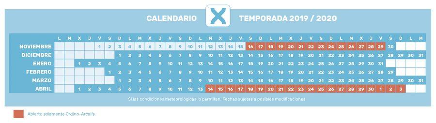Calendario temporada 2019-2020 Grandvalira
